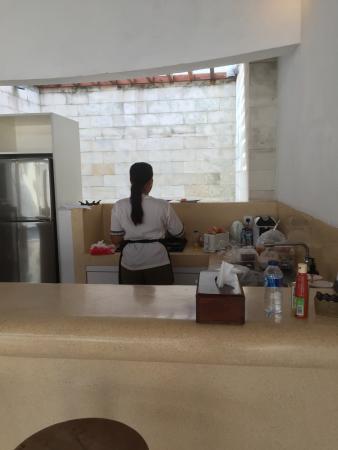 bvilla + Seaside: Staff preparing breakfast in the villa