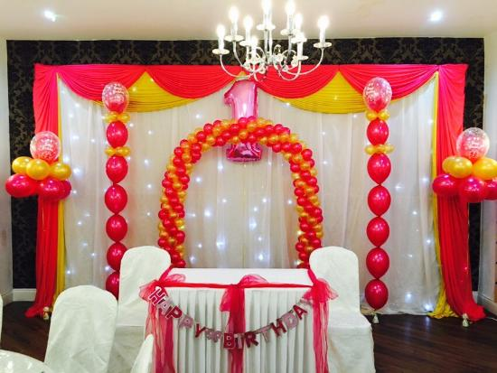 Beautiful Decorations For A 1 Yr Olds Birthday Party At Kailash Parbat The Place Looks