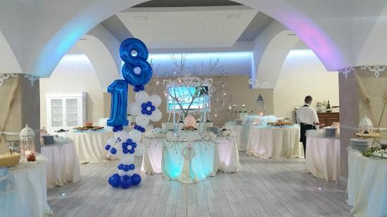 Decorazioni Sala Battesimo : Festa dei 18 anni sulle tonalità blu bianco sala ampia e decorata