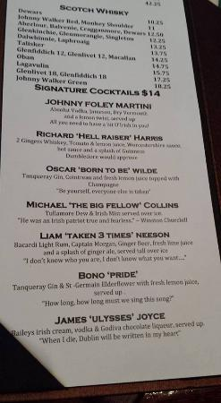 cocktail menu with funny drink names picture of johnny foley s