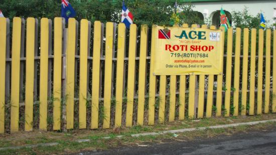 Ace Roti: Look for the yellow fence with the flags!