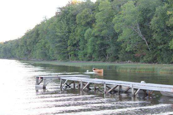 Irondequoit Inn: The dock and one of the rowboats