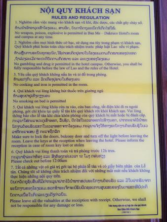 Vientiane Golden Sun Hotel Rules And Regulations Of The Room On Wardrobe