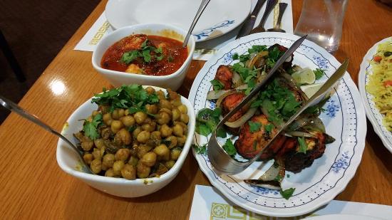 En Tikka Chana Masala And Chili Shrimp At Taj Indian Restaurant Houston