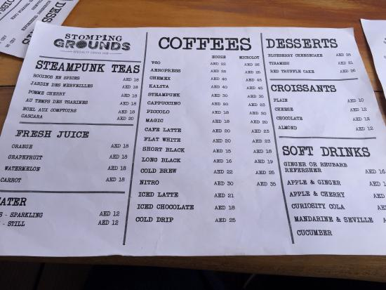 Coffee Menu  Picture Of Stomping Grounds  Specialty Coffee Hub