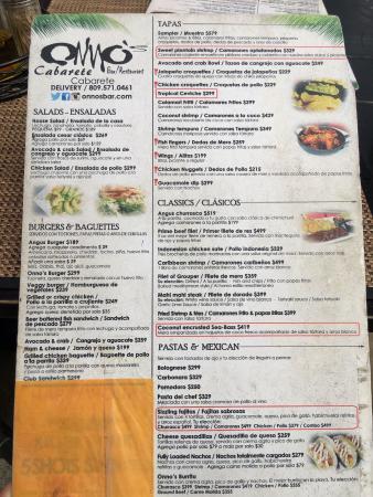 คาบาเรต, สาธารณรัฐโดมินิกัน: The menu