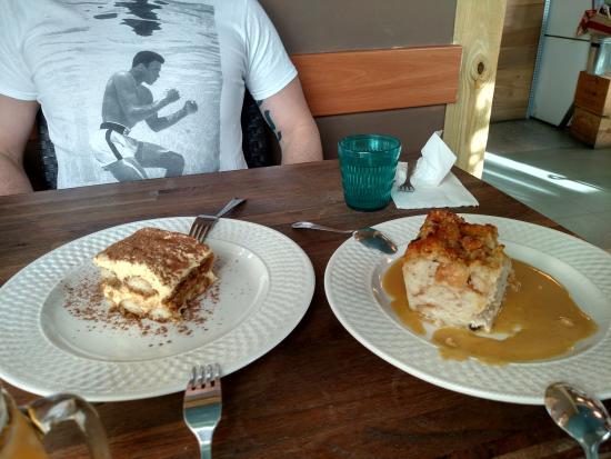 Tiramisu & Bread Pudding Dessert - Picture of Cheese & Wine Cafe ...