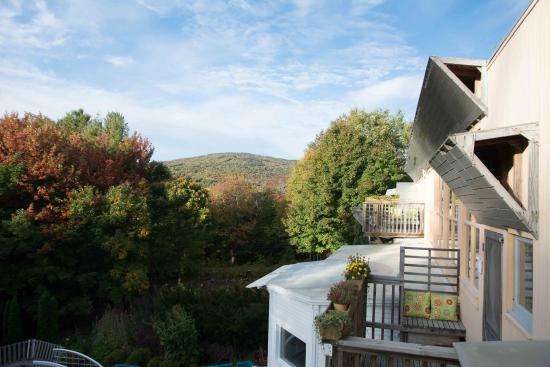 Windham, VT: Blick von der Terrasse unseres Zimmers