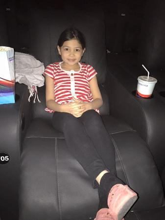 Showcase Cinemas: My daughter enjoying the reclining foot supported seat in the cinema