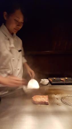 Steak House Medium Rare: The Kobe beef being cooked