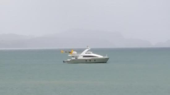 Provenir: View from Restaurant boat with helicopter