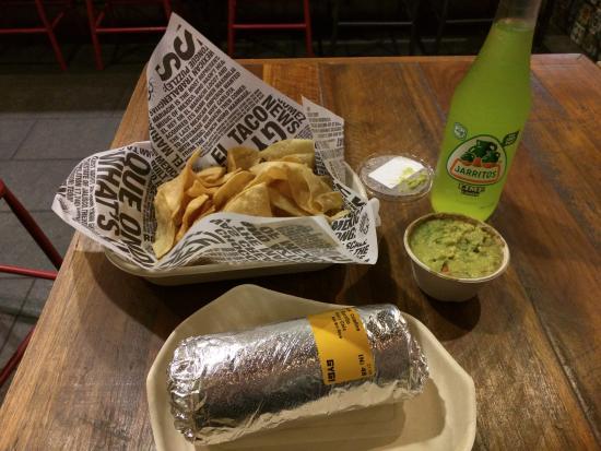 Guzman Y Gomez Taqueria: Spicy Chicken Burrito and Guac