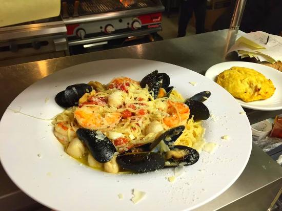 Kittanning, PA: Seafood pasta - bay scallops, mussles, shrimp and lump crab meat over linguine