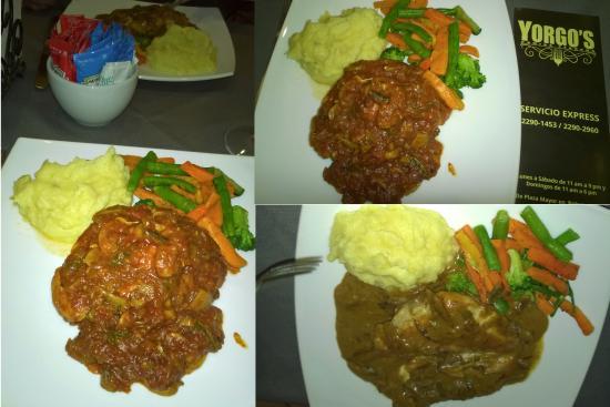 Pollo de la Casa Yorgos in red sauce & Pollo con Hongos Porchini