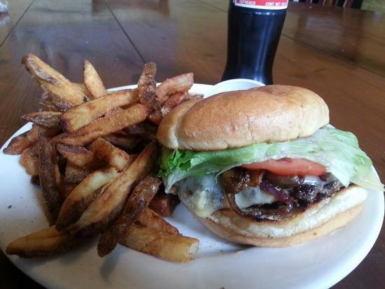 The White Hart Cafe: Pub Burger with Chipotle Cinnamon Bacon and hand cut fries