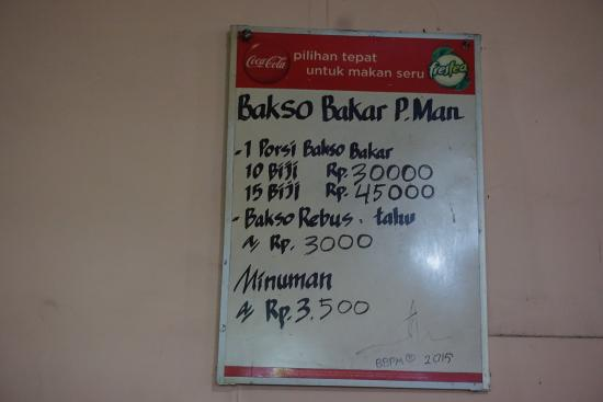 Menu Picture Of Bakso Bakar Pak Man Malang Tripadvisor