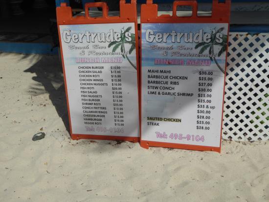 Gertrudes Beach BAr : the menu