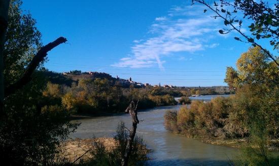 Sastago, İspanya: meandros del Ebro desde el jardin del monasterio