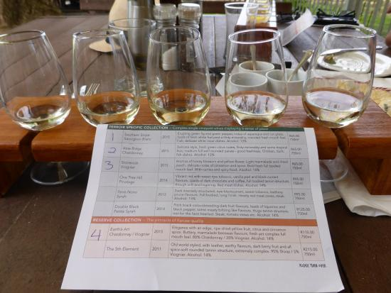 Oudtshoorn, South Africa: And the white wine taster selection..