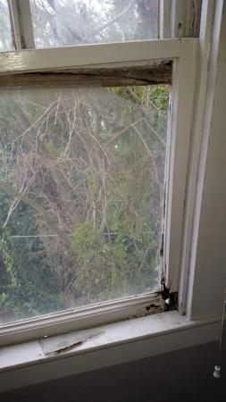 Ryde Hotel: Broken glass and dryrot window in bedroom