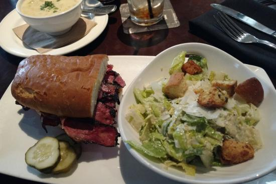 Yard House : 1/2 Pastrami Deluxe Sandwich, Caesar Salad and Cup of the Clam Chowder