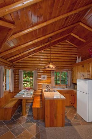 one bedroom cabin. alpine village cabin resort - jasper: heritage one bedroom kitchen