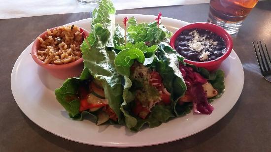Marg's Taco Bistro: 3-taco platter in fresh lettuce wraps
