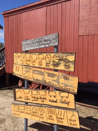 Pacific Southwest Railway Museum : hobo signs to tell you about various places