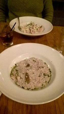 The Red Cat Kitchen at Ken N' Beck: Porcini mushroom risotto in the foreground and scampi linguine in the background