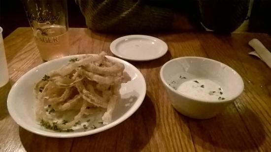 The Red Cat Kitchen at Ken N' Beck: Fried onion rings with dipping sauce