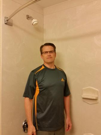 "Hampton Inn Marble Falls-On The Lake: I'm 5'9""-5'10"", the shower head is nearly 7' high"