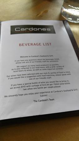 Cardone's Seafood & Grill: Beverage list