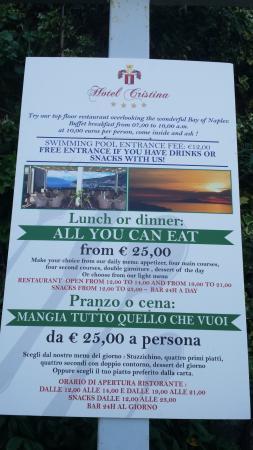 Cristina Hotel: menu