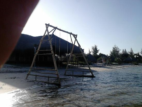 Pomene National Reserve, Mozambique: Swings for children in the water near the restaurant.
