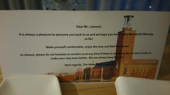 Radisson Blu Waterfront Hotel: Welcome tag