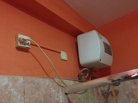 shower water heater wires near water hide it maybe checke rh tripadvisor co za