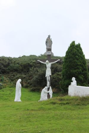 Slieve Patrick Statue: View of St Patrick statue from picnic area level.