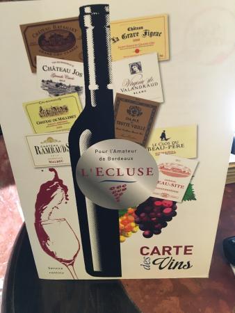 L'Ecluse : La carte des vins !