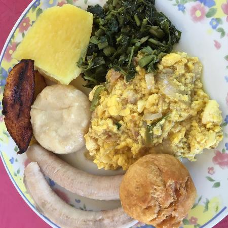 Ackee saltfish with callaloo fried dumplings picture for Salt fish ackee