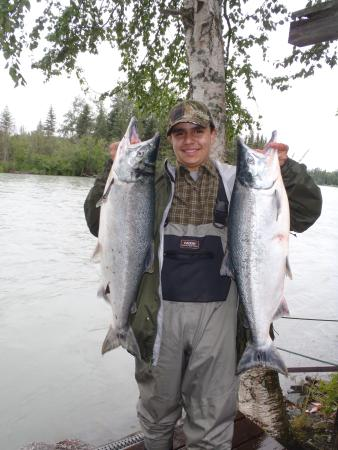 Kenai Riverfront Resort: Young Michael Bangos with a couple beautiful Kenai River Red Salmon!