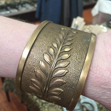 Ellicott City, MD: This shop carries treasures like this massive bronze bracelet made from an old cash register!