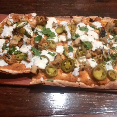 Tobias Flat: Thai Flatbread Pizza with chicken and jalapenos