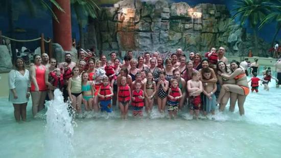 Cedar Point's Castaway Bay: Our group picture in the wave pool