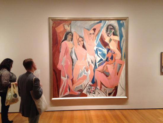 an analysis of the picassos work les desmoiselles davignon Picasso and primitivism: the two heads to the right in picasso's les demoiselles d'avignon creating a work of art and the role of the.