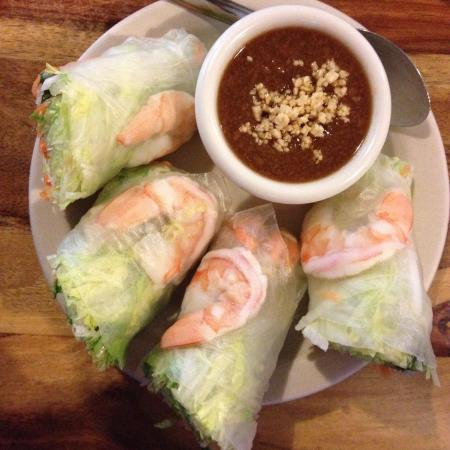 Thep Thai: Fresh Thai Basil Spring Rolls with Peanut Sauce
