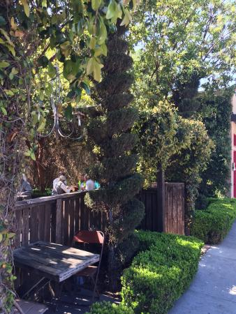 Papa Lennon's: View into the garden with sidewalk seating, if you'd like