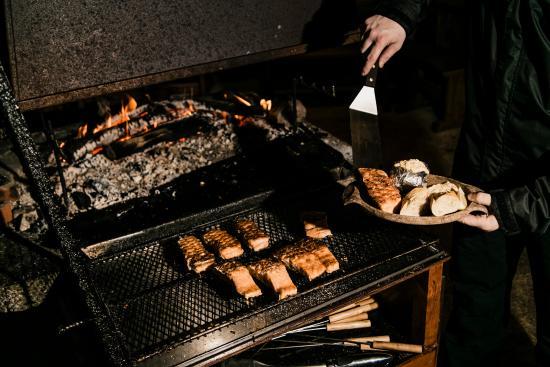 Arctic SnowHotel & Glass Igloos: Salmon, glow-fried at Kota restaurant