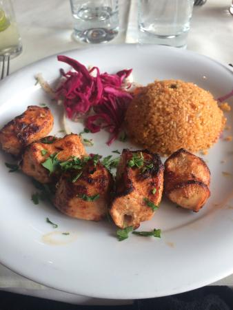 Hazev: Well presented but chicken was dry and couscous was flavourless.