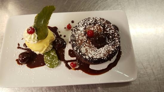 Llangadog, UK: Chocolate fondant by chef Andrei Dumitrescu