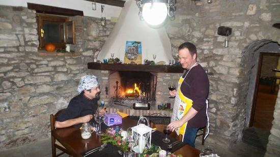 grilling the steak in the fireplace also the room where we ate rh tripadvisor co uk